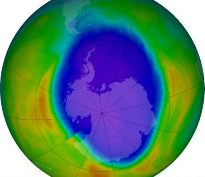 Over Antarctica there was a huge ozone hole