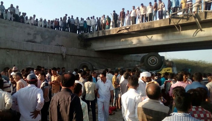 At least 26 killed as truck going to a marriage falls into drain in Gujarat's Bhavnagar