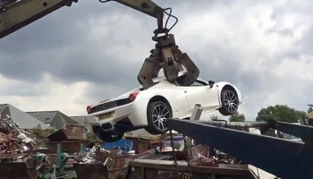 How crushing! Soul-destroying moment £200,000 Ferrari 458 Spider was destroyed after police seized uninsured vehicle from millionaire owner
