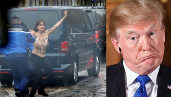 Police tackle topless protesters who rush Trump motorcade in Paris