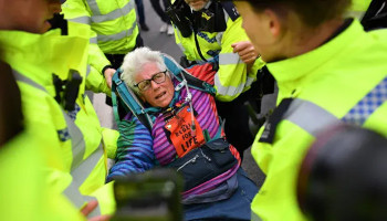 More than 100 demonstrators were arrested in London.