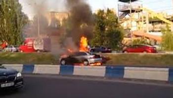 Մյասնիկյան պողոտայում ավտոմեքենա է այրվում