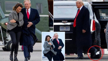 Donald Trump is spotted with toilet paper stuck on his shoe AGAIN