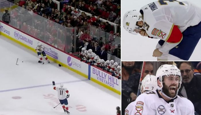 Gory moment hockey star Keith Yandle is smacked in the face with a puck and then casually pulls out NINE TEETH before going on to finish the game