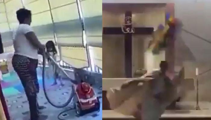 Տեսանյութ.Ինչպես է մայրը տան պատուհանի մոտից փախցնում երեխային,պայթյունի ալիքից փլվում է եկեղեցու առաստաղը