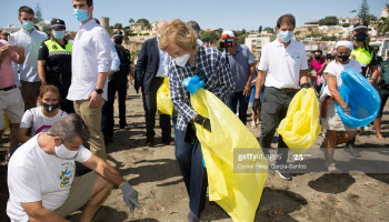 Queen Sofia Of Spain Attends The International Beach Cleanup Day