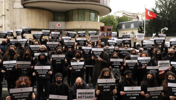 The Armenians held a protest in front of the Turkish Embassy