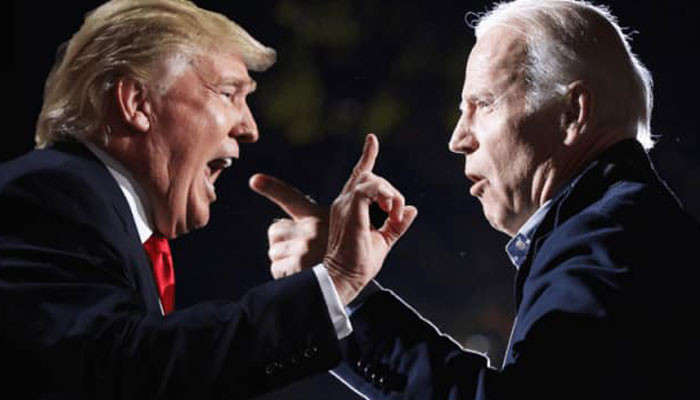 """United States President Donald Trump stated that counting late votes resulted in those being cast for his Democratic rival Joe Biden surging from """"all over the place"""""""