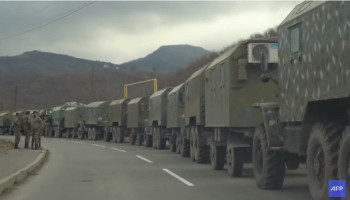 Armenian military convoy crosses Kalbajar district ahead of its handover to Azerbaijan