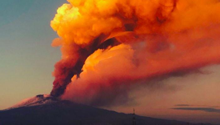 Mount Etna erupted in Sicily
