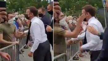 Protester slaps French President Emmanuel Macron in face
