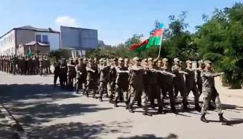 В оккупированном городе Шуши провели военное шествие